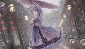 Rating: Safe Score: 32 Tags: aliasing animal animal_ears apple228 building cat catgirl chinese_clothes city lolita_fashion original purple_hair rain tail umbrella water User: BattlequeenYume