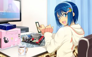 Rating: Safe Score: 109 Tags: 7 blue_eyes blue_hair computer drink headband madobe_nanami microsoft os-tan short_hair windows User: zeronothing