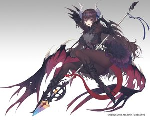 Rating: Safe Score: 114 Tags: armor breasts brown_eyes brown_hair cleavage demon dress elbow_gloves gloves gradient horns long_hair original pantyhose rodway spear succubus tail weapon wings User: otaku_emmy