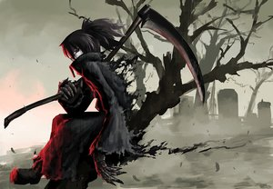 Rating: Safe Score: 268 Tags: black_eyes black_hair boots hellshock original scar scythe short_hair torn_clothes tree twintails weapon User: STORM