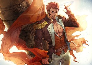 Rating: Safe Score: 18 Tags: all_male aqua_eyes fate/grand_order fate_(series) hermithessa male napoleon_(fate/grand_order) open_shirt red_hair short_hair signed smoking wink User: otaku_emmy