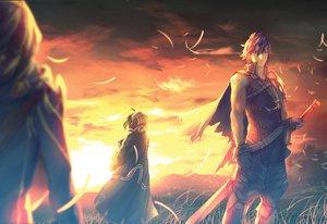 Rating: Safe Score: 86 Tags: armor blue_eyes blue_hair cape chrom_(fire_emblem) clouds fire_emblem kitsune_(artist) male marth_(fire_emblem) my_unit_(fire_emblem) sky sunset sword weapon User: STORM