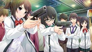Rating: Safe Score: 65 Tags: bow game_cg glasses group gun hinasaki jin_satsuki jirai_soft kawashima_hideya male short_hair skirt susonobe_nami tie tsuisou_no_augment umekawa_shiho weapon User: Maboroshi