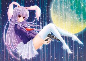 Rating: Safe Score: 38 Tags: animal_ears bunny_ears bunnygirl gun nonoko reisen_udongein_inaba thighhighs touhou weapon User: naikoto