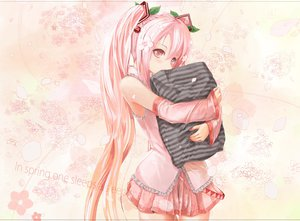 Rating: Safe Score: 227 Tags: blush dress flowers gyo-flolence hatsune_miku hug long_hair petals pink_eyes pink_hair sakura_miku skirt twintails vocaloid User: FormX