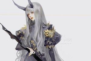 Rating: Safe Score: 46 Tags: dadachyo gray gray_hair horns long_hair original signed yellow_eyes User: RyuZU