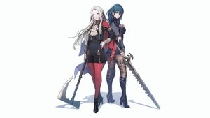 Rating: Safe Score: 18 Tags: 2girls blue_eyes blue_hair boots byleth_(female) cape edelgard_von_hresvelg fire_emblem long_hair pantyhose steelleets sword weapon white_hair User: mattiasc02
