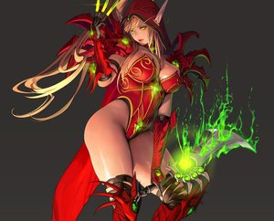 Rating: Safe Score: 108 Tags: armor bodysuit breasts brown_hair cleavage cropped elbow_gloves gloves gray green_eyes hearthstone hoodie long_hair magic nightmadness pointed_ears ponytail sword thighhighs valeera_sanguinar weapon User: otaku_emmy