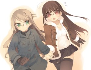 Rating: Safe Score: 43 Tags: 2girls arima_senka arima_senne brown_hair cleavage glasses gloves green_eyes kashiwamochi_yomogi long_hair original red_eyes skirt thighhighs zettai_ryouiki User: Xtea