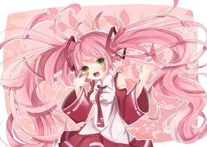 Rating: Safe Score: 57 Tags: blush green_eyes hatsune_miku long_hair motsuni_(lxxe1120) pink_hair sakura_miku tie twintails vocaloid User: FormX