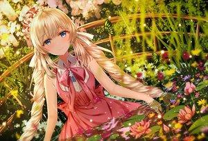 Rating: Safe Score: 176 Tags: blonde_hair blue_eyes butterfly dress fate/grand_order fate_(series) flowers hat junpaku_karen long_hair marie_antoinette_(fate/grand_order) twintails water wet User: RyuZU