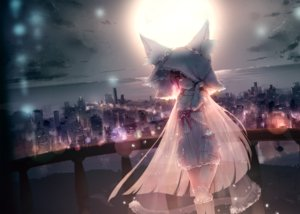 Rating: Safe Score: 100 Tags: animal_ears building city clouds dress futoshi_ame long_hair moon night original red_eyes see_through sky tail User: BattlequeenYume