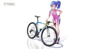 Rating: Safe Score: 54 Tags: aikatsu! bicycle bike_shorts blue_hair gloves hitomi_kazuya kiriya_aoi ponytail shorts skintight third-party_edit watermark white wink User: gnarf1975