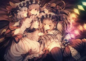 Rating: Safe Score: 61 Tags: bed blonde_hair bow dress flandre_scarlet gray_hair hat long_hair patchouli_knowledge pointed_ears ponytail red_eyes remilia_scarlet short_hair shoujo_ai thighhighs touhou twintails vampire wings wiriam07 User: BattlequeenYume