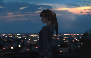 Rating: Safe Score: 46 Tags: brown_hair building city litra long_hair original ponytail scenic silhouette sunset User: RyuZU