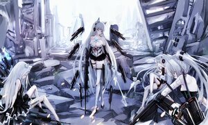 Rating: Safe Score: 176 Tags: animal_ears anthropomorphism awp_(dyolf) breasts cleavage dyolf girls_frontline group gun long_hair mechagirl original polychromatic ruins signed techgirl weapon white_hair User: BattlequeenYume