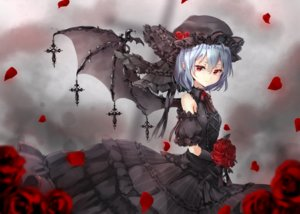 Rating: Safe Score: 92 Tags: blue_hair cross dress elbow_gloves flowers gloves goth-loli hat lolita_fashion red_eyes remilia_scarlet rose shironeko_yuuki short_hair touhou vampire wings User: BattlequeenYume