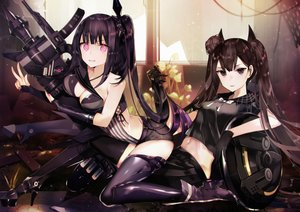 Rating: Safe Score: 50 Tags: 2girls architect_(girls_frontline) breasts brown_eyes brown_hair cleavage girls_frontline gun long_hair navel ouroboros_(girls_frontline) purple_eyes purple_hair shorts tetsubuta thighhighs twintails weapon User: BattlequeenYume