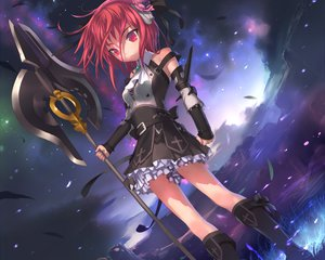 Rating: Safe Score: 65 Tags: boots gothic red_eyes red_hair short_hair skirt sky spear uni weapon User: 秀悟