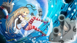 Rating: Safe Score: 41 Tags: aliasing aqua_eyes blonde_hair blush boots elbow_gloves gloves headband kantai_collection long_hair panties rensouhou-chan ribbons seifuku seren_aq shimakaze_(kancolle) signed skirt thighhighs underwear water User: RyuZU