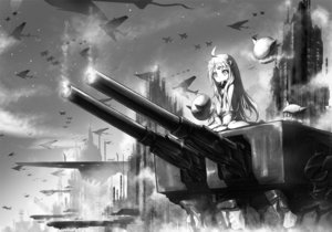 Rating: Safe Score: 153 Tags: aircraft aliasing anthropomorphism boyogo building kantai_collection loli long_hair monochrome northern_ocean_hime weapon User: Flandre93