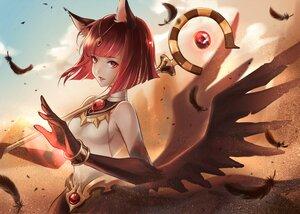 Rating: Safe Score: 21 Tags: afk_arena animal_ears clouds feathers monkeyyan red_eyes red_hair safiya_(afk_arena) short_hair wings User: Maboroshi