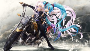 Rating: Safe Score: 106 Tags: 2girls blue_eyes blue_hair braids handcuffs hatsune_miku ia long_hair motorcycle naka_(nicovideo14185763) pink_hair twintails vocaloid User: FormX