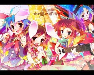 Rating: Safe Score: 44 Tags: animal_ears bunny_ears bunnygirl food guitar houraisan_kaguya inaba_tewi instrument microphone music pixel_phantom pocky reisen_udongein_inaba touhou yagokoro_eirin User: Oyashiro-sama