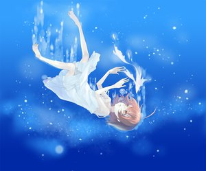 Rating: Safe Score: 52 Tags: animal barefoot brown_hair bubbles dress fish last_order orange_eyes short_hair summer_dress to_aru_majutsu_no_index underwater water User: HawthorneKitty