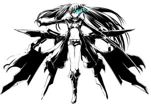 Rating: Safe Score: 104 Tags: black_rock_shooter boots gloves katana kuroi_mato long_hair monochrome realmbw_(artist) sword twintails weapon User: PAIIS