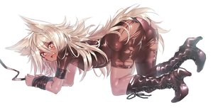 Rating: Questionable Score: 151 Tags: animal_ears blonde_hair bondage boots dark_skin dio_uryyy fang long_hair original skintight torn_clothes white User: Flandre93