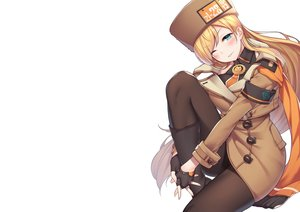 Rating: Safe Score: 76 Tags: aqua_eyes blonde_hair blush boots dress gloves guilty_gear hat long_hair millia_rage pantyhose ray-akila scarf tie white wink User: otaku_emmy