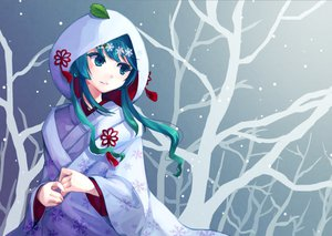 Rating: Safe Score: 98 Tags: aqua_eyes aqua_hair hatsune_miku japanese_clothes kamogonn leaf snow tree vocaloid yuki_miku User: FormX