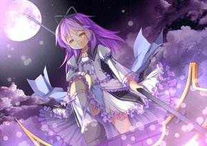 Rating: Safe Score: 60 Tags: bow dress eiyuu_densetsu jpeg_artifacts long_hair moon purple_hair renne ribbons saru scythe sora_no_kiseki weapon yellow_eyes User: opai