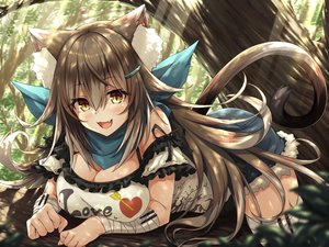 Rating: Safe Score: 84 Tags: animal_ears bandage blush breasts brown_hair catgirl cat_smile cleavage fang forest hasumi_(hasubatake39) long_hair original shorts tail tree yellow_eyes zettai_ryouiki User: BattlequeenYume