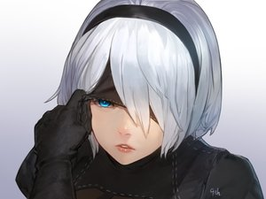 Rating: Safe Score: 51 Tags: aqua_eyes blindfold close gloves gradient headband nier nier:_automata short_hair signed tagme_(artist) white_hair yorha_unit_no._2_type_b User: otaku_emmy