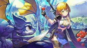 Rating: Safe Score: 54 Tags: blonde_hair cape cropped dragon food fruit green_eyes long_hair original sword tagme_(artist) weapon User: BattlequeenYume