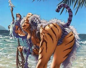 Rating: Questionable Score: 141 Tags: animal_ears ass bikini blue_eyes blue_hair braids breasts cameltoe catgirl comic_toranoana cropped dark_skin long_hair minato_fumi necklace scan spear swimsuit tail underboob water weapon User: otaku_emmy