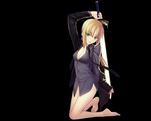 Rating: Questionable Score: 201 Tags: barefoot black blonde_hair cleavage fate/stay_night fate/zero green_eyes long_hair saber sword transparent vector weapon User: Wiresetc