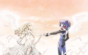 Rating: Safe Score: 16 Tags: blue_hair dress feathers long_hair macross macross_frontier male ponytail saotome_alto sheryl_nome wings User: Tensa