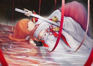 Rating: Safe Score: 42 Tags: bell code:_d-blood japanese_clothes katana long_hair marumoru miko orange_hair red_eyes ribbons sword uesugi_eri water weapon User: sadodere-chan