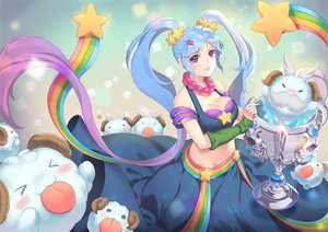 Rating: Safe Score: 43 Tags: blue_eyes blue_hair blush breasts cleavage dakun87 league_of_legends long_hair navel necklace purple_eyes rainbow sona_buvelle twintails waifu2x User: luckyluna