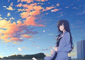 Rating: Safe Score: 77 Tags: black_hair building clouds long_hair original paper ryuga_(balius) shirt sky User: RyuZU