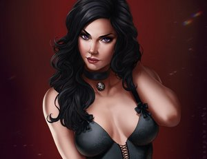 Rating: Safe Score: 15 Tags: black_hair choker corset cropped dandon_fuga long_hair purple_eyes red the_witcher watermark yennefer_of_vengerberg User: SciFi