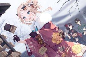 Rating: Safe Score: 34 Tags: abigail_williams_(fate/grand_order) aqua_eyes black_hair blonde_hair blush bow butterfly fate/grand_order fate_(series) fujimaru_ritsuka_(male) gloves japanese_clothes katsushika_hokusai kimono male short_hair snow tokitarou_(fate/grand_order) yukiyama_momo User: Maboroshi