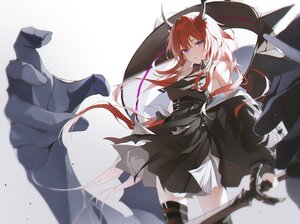 Rating: Safe Score: 43 Tags: 2sham arknights dress horns long_hair purple_eyes red_hair surtr_(arknights) sword thighhighs weapon User: Dreista