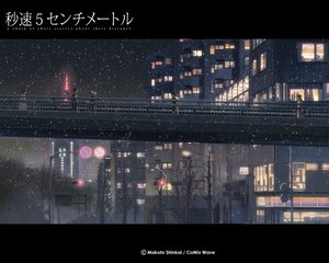 Rating: Safe Score: 26 Tags: byousoku_5_centimetre city night scenic shinkai_makoto snow tree winter User: Oyashiro-sama
