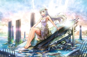 Rating: Safe Score: 70 Tags: barefoot choker clouds dress gray_hair green_eyes hourainingyou long_hair original ruins sky summer_dress water wristwear User: BattlequeenYume