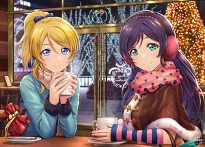 Rating: Safe Score: 56 Tags: 2girls ayase_eri bell blonde_hair blue_eyes blue_hair bow christmas drink green_eyes long_hair love_live!_school_idol_project ponytail scarf shamakho signed toujou_nozomi User: RyuZU