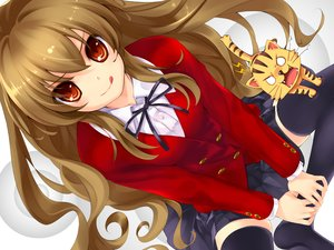 Rating: Safe Score: 48 Tags: aisaka_taiga animal brown_hair cat kuroya_shinobu long_hair misaki_kurehito red_eyes seifuku skirt thighhighs toradora waifu2x User: luckyluna